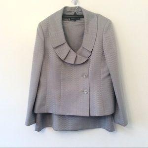Evan Picone Silver Skirt Suit